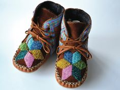 Handmade leather beaded wool-lined moccasins