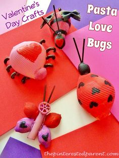 Pasta love bug crafts for the kids
