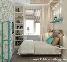 Бирюзовый цвет в спальне для молодой девушки