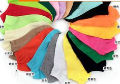 24pcs=12pairs/lot women's socks solid color love candy color dot sock women's thin sock slippers.mix colors .