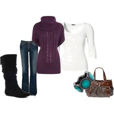 Love it!!!  Items in this set    Purple cowl neck tabard  45 CAD - dorothyperkins.com  Cowl neck sweater »    H Shop Online  hm.com  Long sleeve tops »    BKE Kate Stretch Jean  49 CAD - buckle.com  Buckle jeans »    Steve Madden Bonanza Boot - Black Suede  88 CAD - heels.com  Black flat boots »    LOUDY  49 CAD ...
