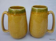 Beauce Canada Coffee Tea Mug x 2 Large Gold Green Drip Art Pottery Canada c1970s Drip Art, Tea Mugs, Pottery Art, Coffee, Tableware, Green, Vintage, Pottery, Tea Cups