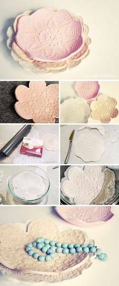 Clay imprint lace doily bowls DIY - Crafts Round Up of 15 fabulous crafts to make with vintage doilies http://www.hearthandmade.co.uk/crafts-with-lace-doilies/?utm_campaign=coschedule&utm_source=pinterest&utm_medium=Heart%20Handmade%20UK&utm_content=15%20Fascinating%20Crafts%20With%20Lace%20Doilies%20You%20Should%20Make%20Immediately%21