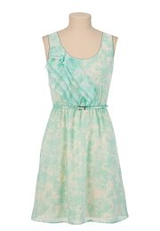 Belted Floral Chiffon Ruffle Front Dress - maurices.com