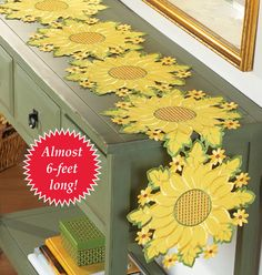 How to decorate a kitchen in a sunflower themed decor. Kitchen themes featuring sunflowers for decorating including curtains, towels, rugs Table Runner And Placemats, Table Runner Pattern, Table Runners, Small Yellow Flowers, Yellow Sunflower, Kitchen Themes, Kitchen Decor, Kitchen Stuff, Kitchen Ideas