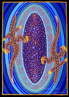 Aboriginal Art - maybe students names intertwined with animals and dots? Indigenous Australian Art, Indigenous Art, Aboriginal Painting, Dot Painting, Aboriginal Culture, Aboriginal People, Dragons, Art For Art Sake, Native Art