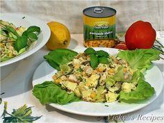Salată cu paste, piept de pui și porumb – Vicky's Recipes Potato Salad, Potatoes, Ethnic Recipes, Food, Salads, Potato, Essen, Meals, Yemek