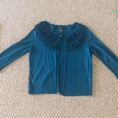 New York & Company Deep Teal Cardigan This cardigan has great detail around the collar. It's one of my favorites!! New York & Company Sweaters Cardigans