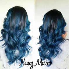Blue ombre  Black hair  Blue hair  Long hair