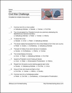 Civil War Wordsearch, Vocabulary, Crossword, and More: Civil War Challenge