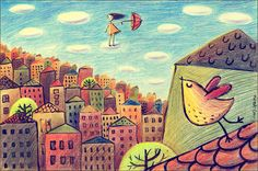 Julia Grigorieva Illustrations 2010 (smile w jul+ Behance) picture on VisualizeUs City Collage, City Illustration, School Art Projects, Tumblr, Art Journal Pages, Art Journals, Favim, Doodle Drawings, Art Journal Inspiration