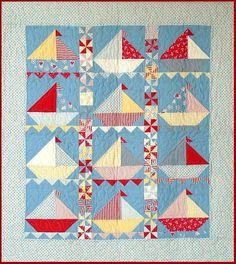 Sailing Sailing Quilt Pattern Cute Little Boy's Quilt by feedsax
