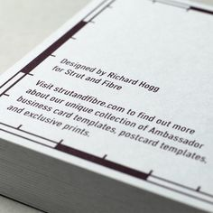 Postcard template designed by Richard Hogg for Strut and Fibre's Ambassador Collection.