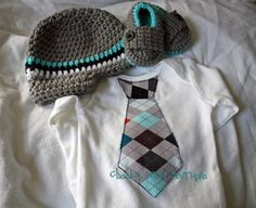 Boy set Tie onesie crochet loafers and by CheekyBabyBoutique, $45.00.  I think this will be his coming home outfit.