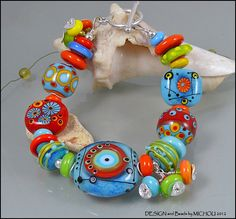 Soul Power  - Lampwork glass bead Bracelet by MIchou. $149.00, via Etsy.