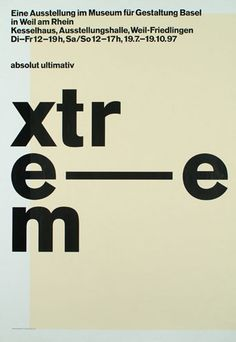 "Georg Staehelin, Switzerland.  ""Extreme, absolute ultimativ""  gold medal in the category of posters promoting culture and art; 16th International Poster Biennale, Warsaw 1998"