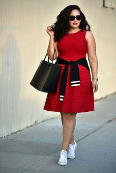 c81f6c08 30 Perfect September Outfits To Jumpstart Your Fall Style>> A cherry-red  dress is versatile enough for all seasons, but white sneakers and a classic  striped ...