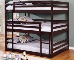 A powerhouse of a piece, the Coaster Furniture Sandler Full Triple Bunk Bed offers space-saving prowess. Crafted of solid pine wood, this triple bunk. Full Size Bunk Beds, Safe Bunk Beds, Triple Bunk Beds, Bunk Bed Rooms, Bunk Bed With Trundle, Bunk Beds With Stairs, Twin Bunk Beds, Kids Bunk Beds, Futon Bunk Bed