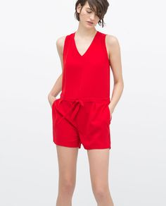 2a976d63 Image 2 of SHORT JUMPSUIT WITH BOW AT WAIST from Zara Sewing Pants, Floral  Romper