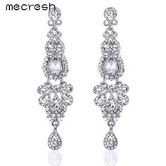 Mecresh 5 Colors Bridal Long Earrings with Crystals for Women Luxury Silver Plated Chandelier Pendante Wedding Jewelry EH162