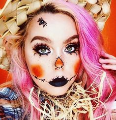 f you own a plaid shirt, then being a scarecrow for Halloween is easy as pie. This scarecrow makeup look is the perfect combination of cute and creepy!