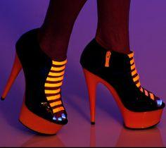 Bootie Shoe Neon Straps, Glow in the Dark Pumps, Highest Heel