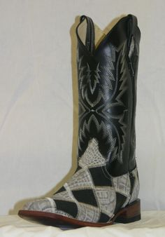 """Ferrini Women's Patchwork 12"""" Square Toe Leather Cowgirl Boots"""