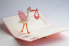 New to LovePopCards on Etsy: Pink New Baby Stork Pop Up Card Maternity Gender Reveal Greeting Card Kirigami Pregnancy (10.00 USD)