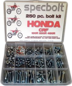 Specbolt Honda CRF 250 450 Bolt Kit Maintenance & Restoration of MX Dirtbike OEM Spec Fasteners by Specbolt Fasteners. $49.99. This Specbolt 250 piece kit will save you many trips to the dealership for that special OEM fastener needed for all liquid cooled Honda CRF 4 Stroke models. This includes CRF150R CRF250R & CRF450R. Your Bolt Kit will include just the right amount of factory match flange bolts, special 5mm radiator shroud stepped flange bolts, sprocket bolt set, fork guar...