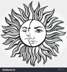 Bohemian Sun and Moon. Tattoo