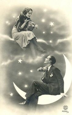 Vintage Clothes A romantically lovely paper moon portrait. Paper Moon, Vintage Pictures, Vintage Images, Vintage Art, Vintage Paper, Romance Vintage, Moon Photos, Moon Art, Cabaret
