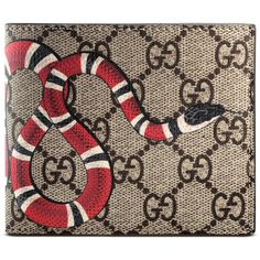 274f0ccc215 Gucci Kingsnake Print Gg Supreme Wallet ( 305) ❤ liked on Polyvore  featuring men s fashion