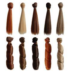 5PCS Straight +5PCS Curly Hot Sale Handmade Synthetic Hair Dolls Short BJD Wig 1/3 1/4