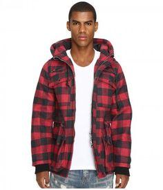 Mostly Heard Rarely Seen - Plaid Field Coat (Red Plaid) Men's Coat
