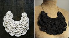 Free pattern on blog.         crochet necklace collage by catparty, via Flickr