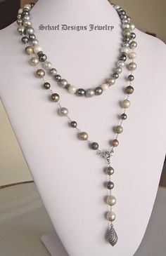Schaef Designs Shaded multi colored Tahitian Pearl choker designer necklace | www,schaefdesigns.com | New Mexico