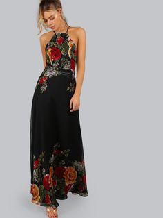 Vestido cuello halter espalda abierta con estampado de flor - negro -Spanish SheIn(Sheinside)