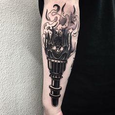 Torch tattoo by at Ondo Tattoo in Barcelona Spain Mini Tattoos, Black Tattoos, Body Art Tattoos, Ma Tattoo, Fire Tattoo, Badass Tattoos, Tattoos For Guys, Cool Tattoos, Pinterest Tattoo Ideas