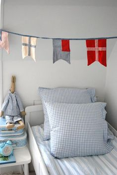 Shabby Chic little boy's room...love the bunting!