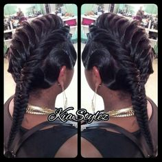 Fishtail with waves...I would have lined up the back nape area... overall cuetly unique style