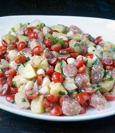 Tomato & Mozzarella Potato Salad with Lemon-Buttermilk Dressing