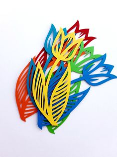Tulip Flower Die Cut Outs ( Spring Decoration, Scrap Booking, Flower Decoration, Confetti, Wedding DIY ) Tulips Flowers, Spring Flowers, Paper Flowers, Flower Garlands, Flower Decorations, Spring Decoration, Art For Kids, Crafts For Kids, Animal Cutouts