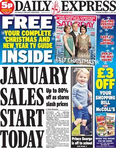 14 best Front pages: Saturday 19th December 2015 images | December