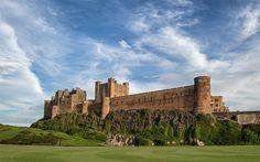Scarica sfondi Northumberland, Bamburgh Castle, regno UNITO, estate, Inghilterra