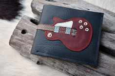 Men Wallet GIBSON LESPAUL Colored Red Wine by fullmoonn on Etsy, $20.00