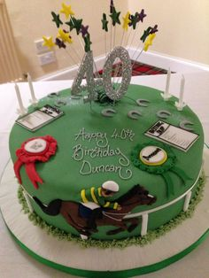 Horse racing birthday cake for Cole decorate idea .you can tweek it however you want .but since we are going to watch our horse at races I thought how perfect Fondant Man, Fondant Cakes, Car Themed Wedding, Graham Cake, Racing Cake, Themed Birthday Cakes, Birthday Brunch, 70th Birthday, Horse Birthday