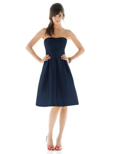 Style D446: Cocktail length strapless dupioni Dress with wide waistband. Pleated skirt with pockets at side seams. Solid only.  http://www.dessy.com/dresses/bridesmaid/d446/