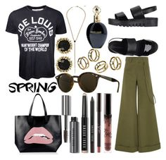 """""""Street Spring"""" by estefanifashion on Polyvore featuring Rosie Assoulin, Bobbi Brown Cosmetics, Jeffrey Campbell, RED Valentino, Ray-Ban, Kendra Scott, BaubleBar and Roberto Cavalli"""