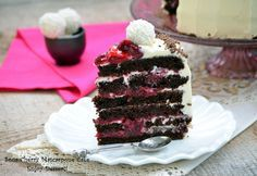 Chocolate cake with cherries and mascarpone Chocolate Cherry Cake, Romanian Food, Something Sweet, Homemade Cakes, Nutella, Cake Recipes, Sweet Treats, Good Food, Food And Drink