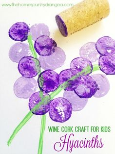 These easy wine cork stamps for kids are perfect for spring crafts and making wine cork hyacinths like you see here.